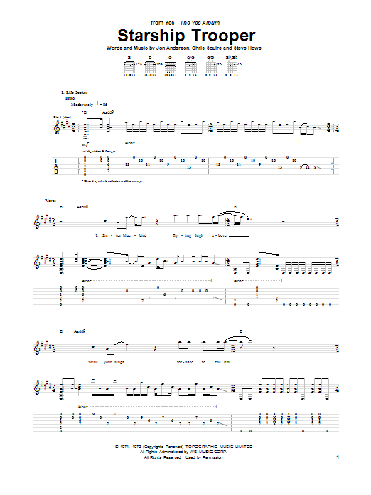 Starship Trooper Sheet Music