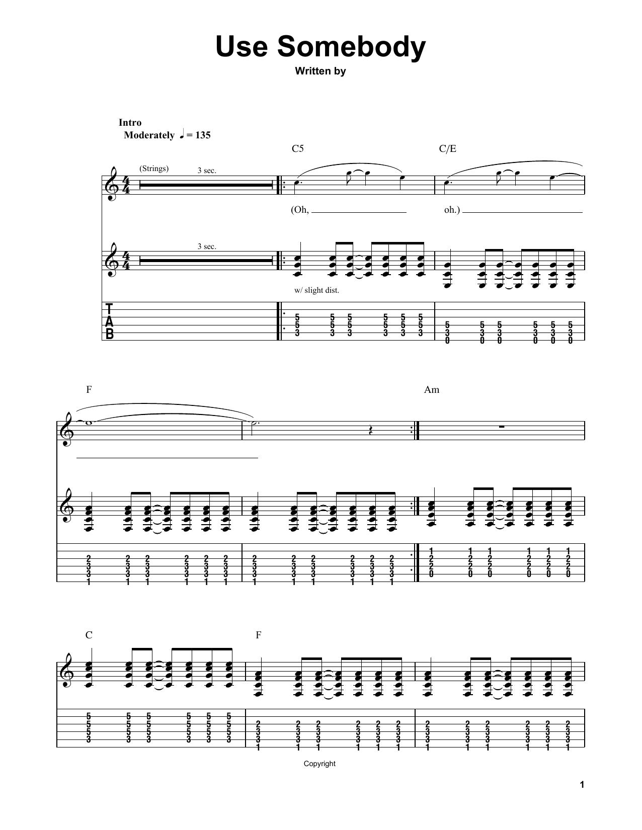 Use Somebody Sheet Music