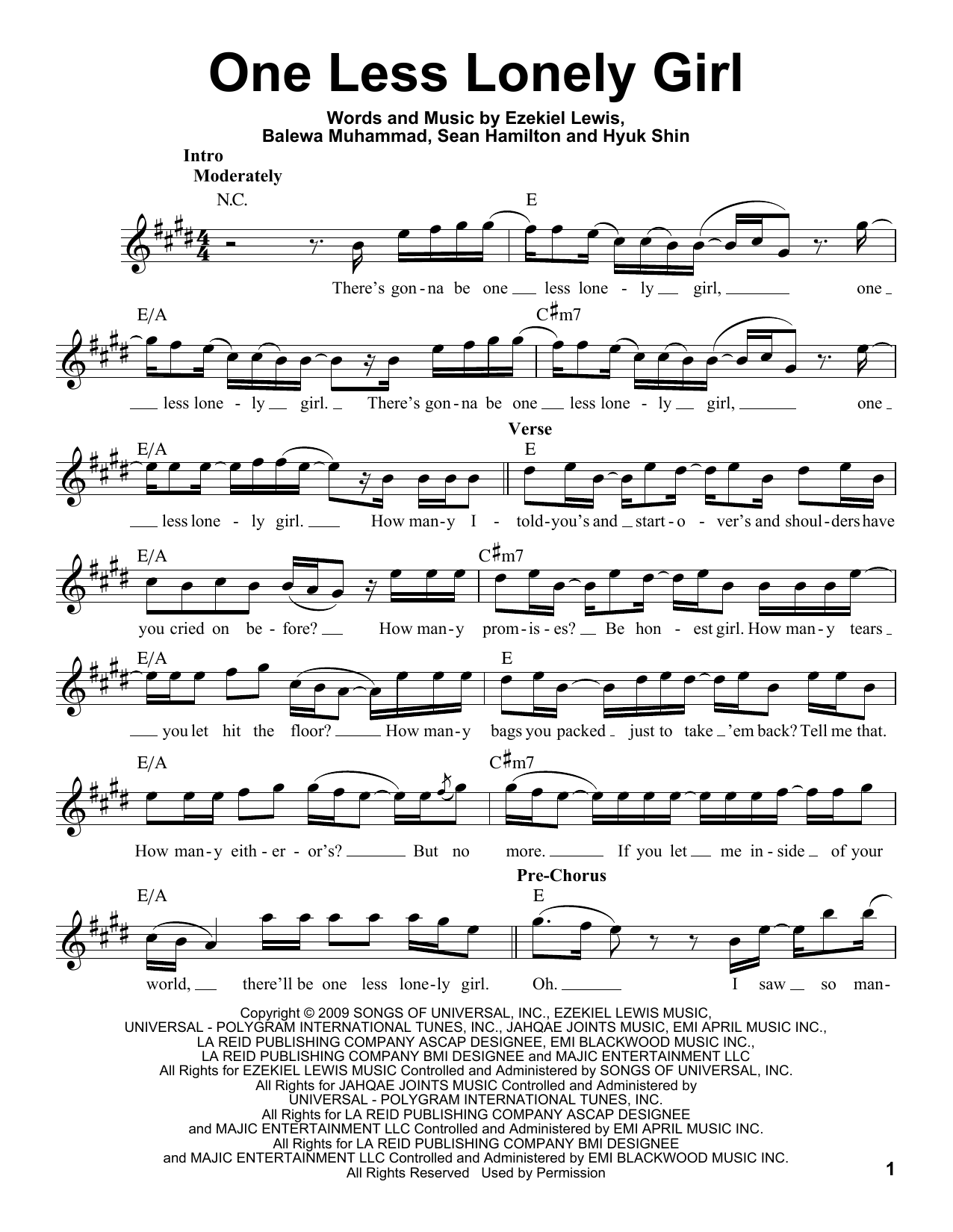 One Less Lonely Girl Sheet Music Justin Bieber Voice