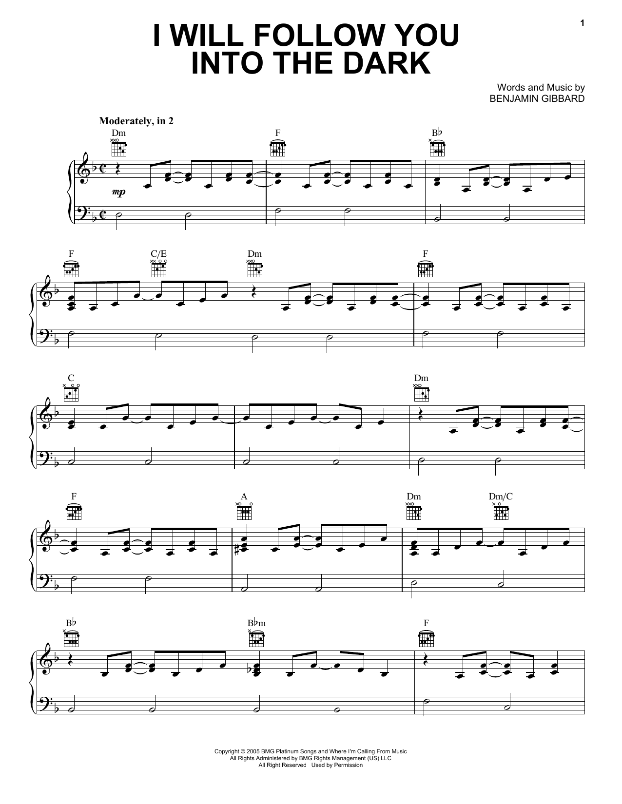 Guitar guitar tabs i will follow you into the dark : I Will Follow You Into The Dark sheet music by Death Cab For Cutie ...