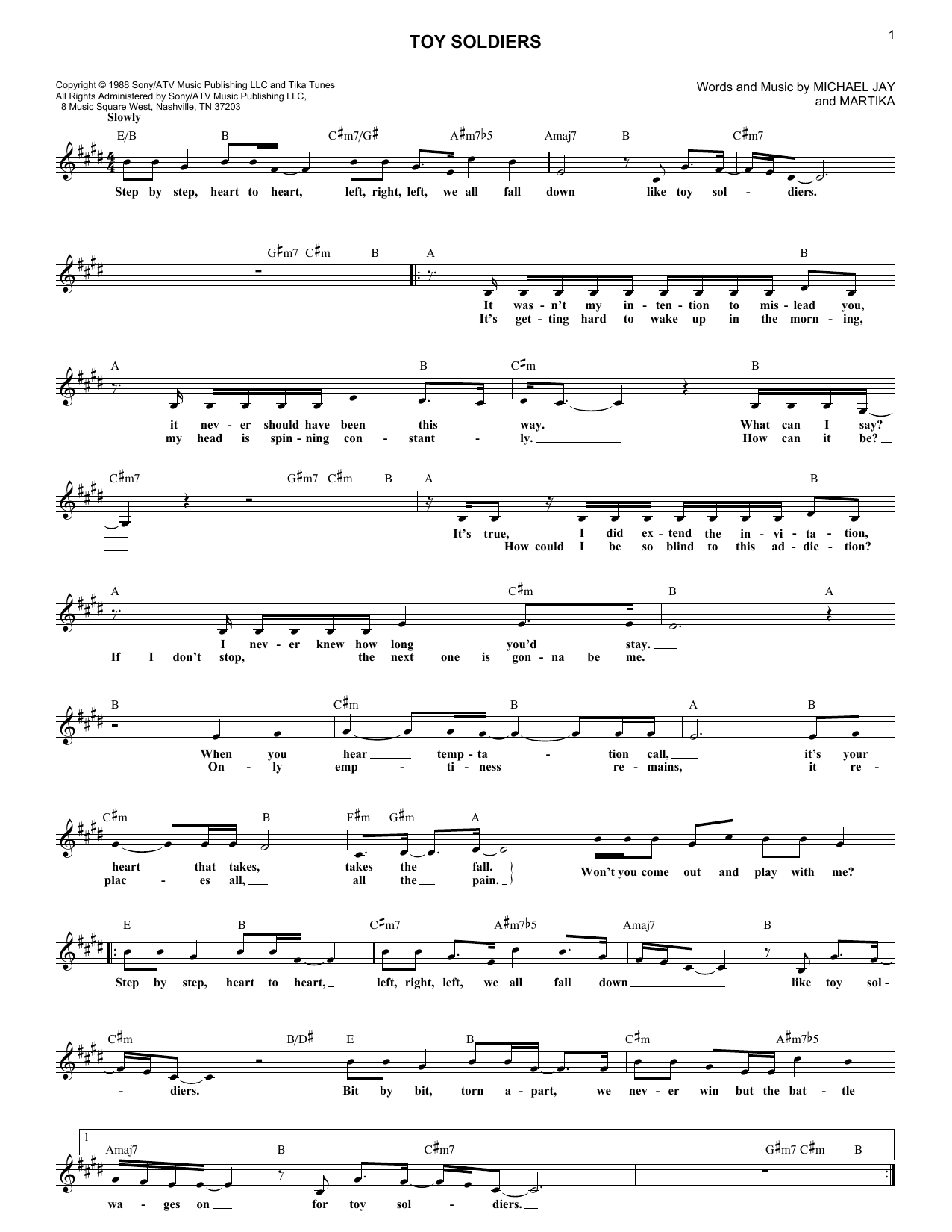 Toy Soldiers (Lead Sheet / Fake Book)