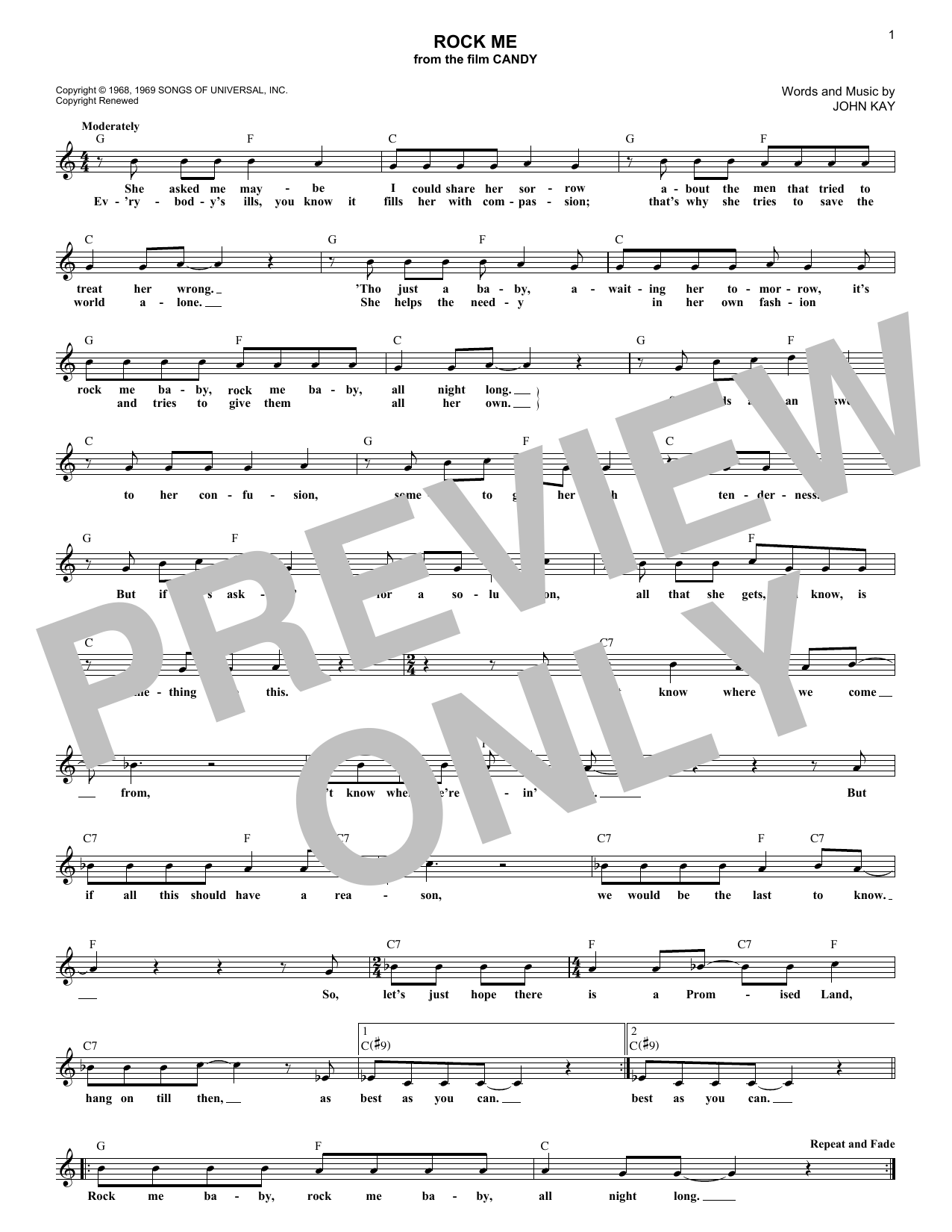 Rock Me (Lead Sheet / Fake Book)