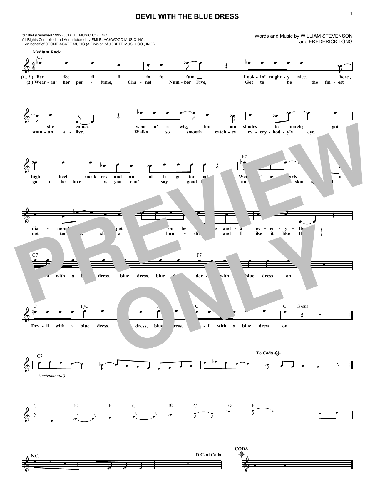Devil With The Blue Dress (Lead Sheet / Fake Book)