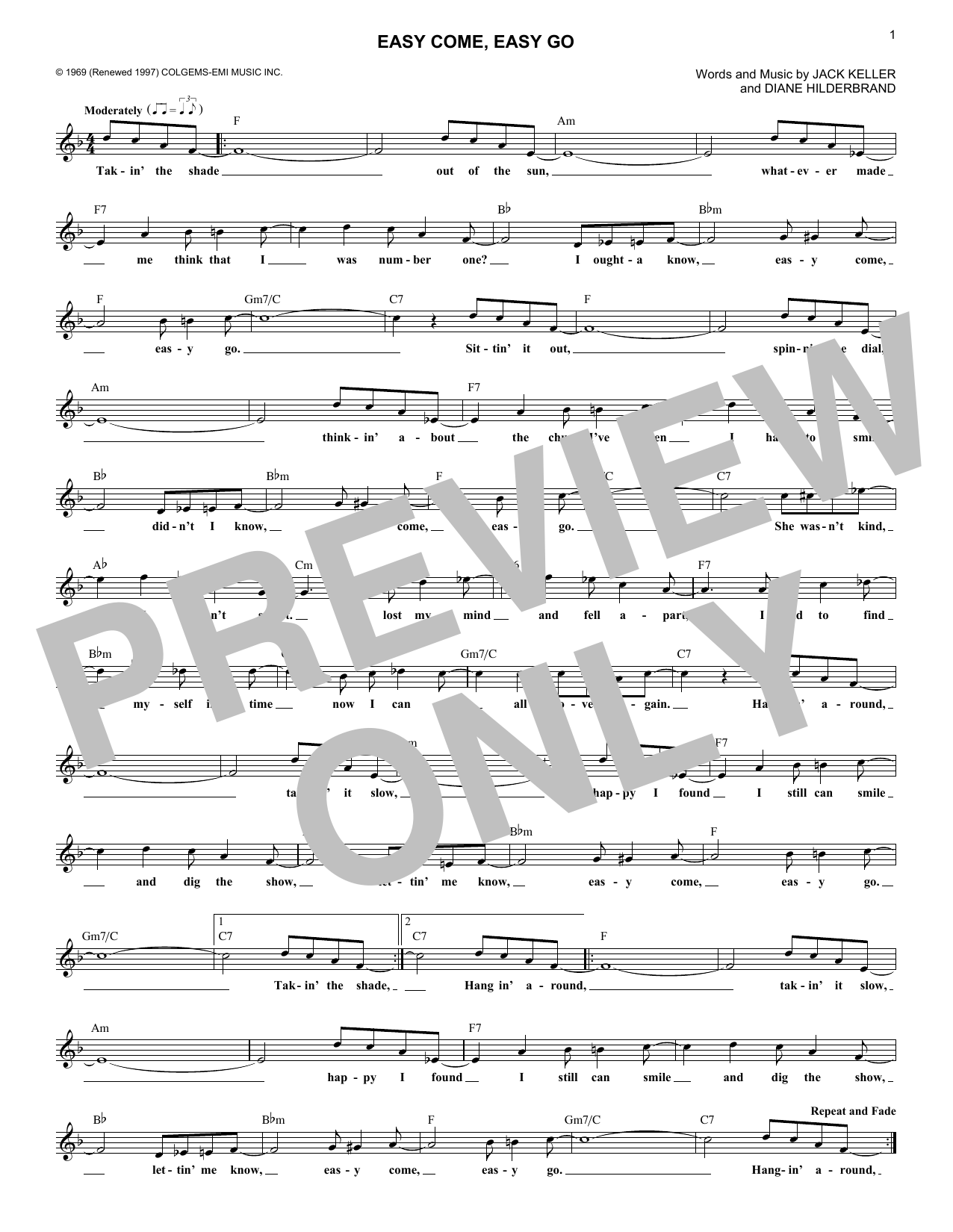 Easy Come, Easy Go (Lead Sheet / Fake Book)