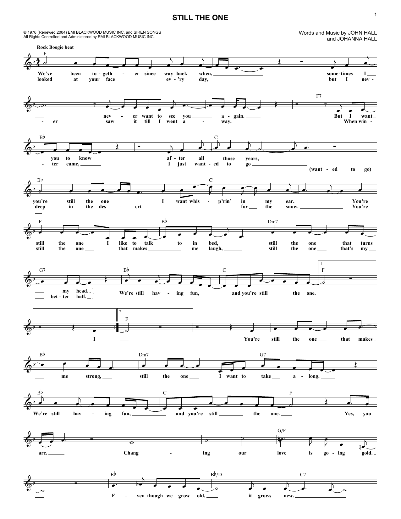 Still The One (Lead Sheet / Fake Book)