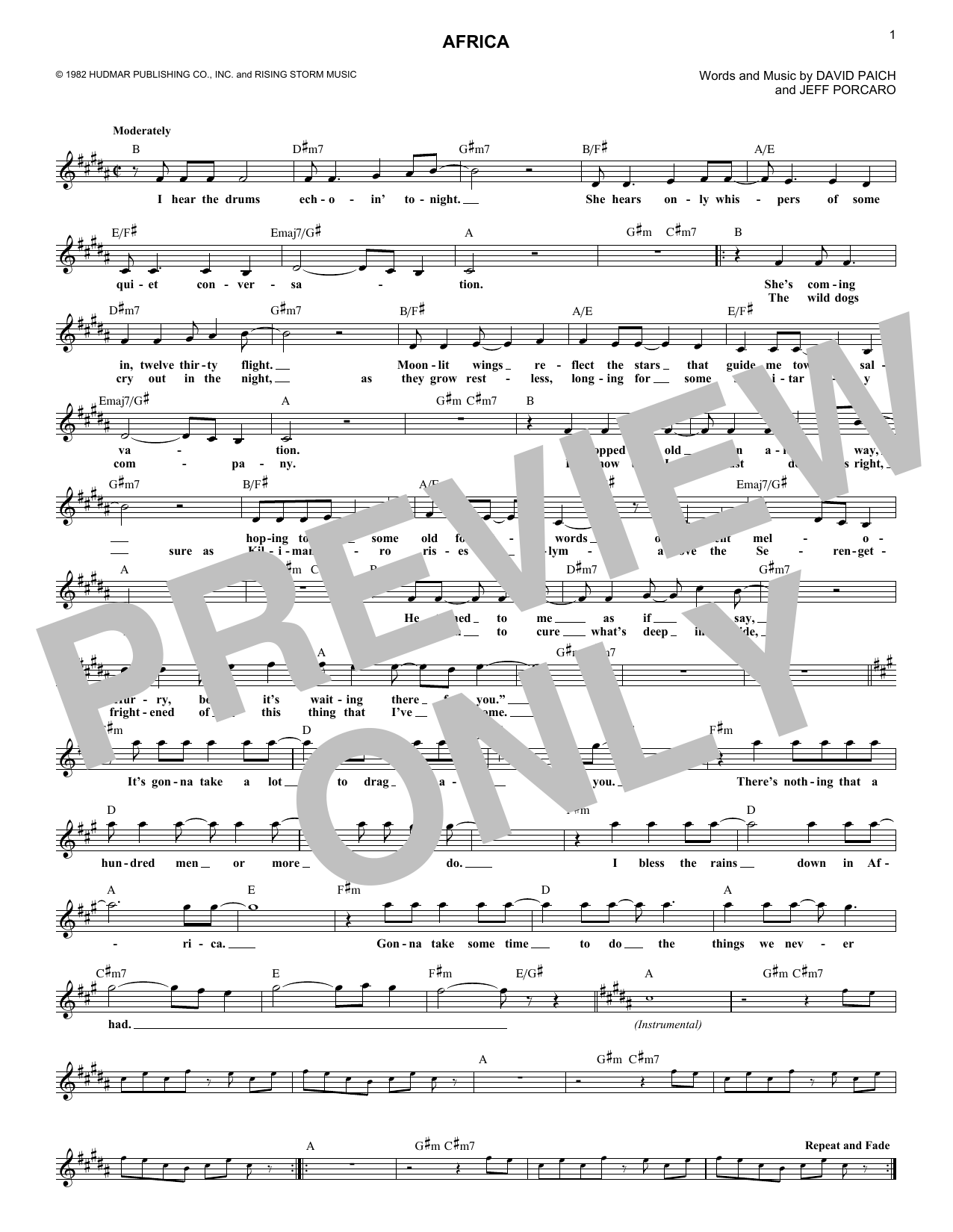 Africa (Lead Sheet / Fake Book)