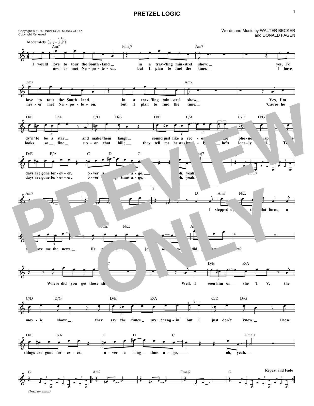 Pretzel Logic (Lead Sheet / Fake Book)