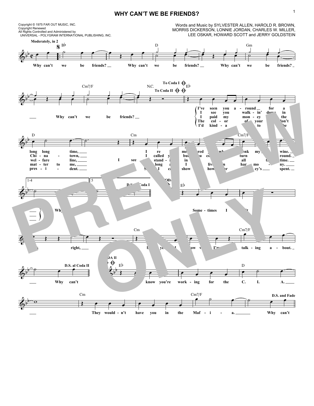 Why Can't We Be Friends (Lead Sheet / Fake Book)
