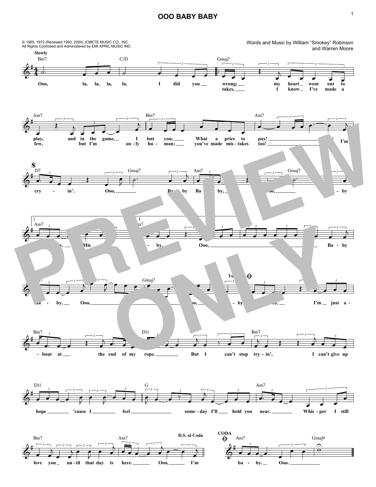 Ooo Baby Baby (Lead Sheet / Fake Book)