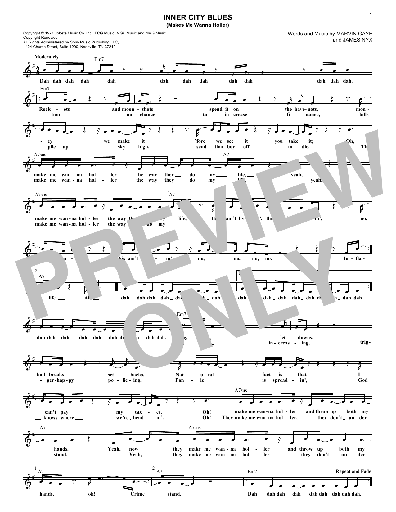 Inner City Blues (Make Me Wanna Holler) (Lead Sheet / Fake Book)