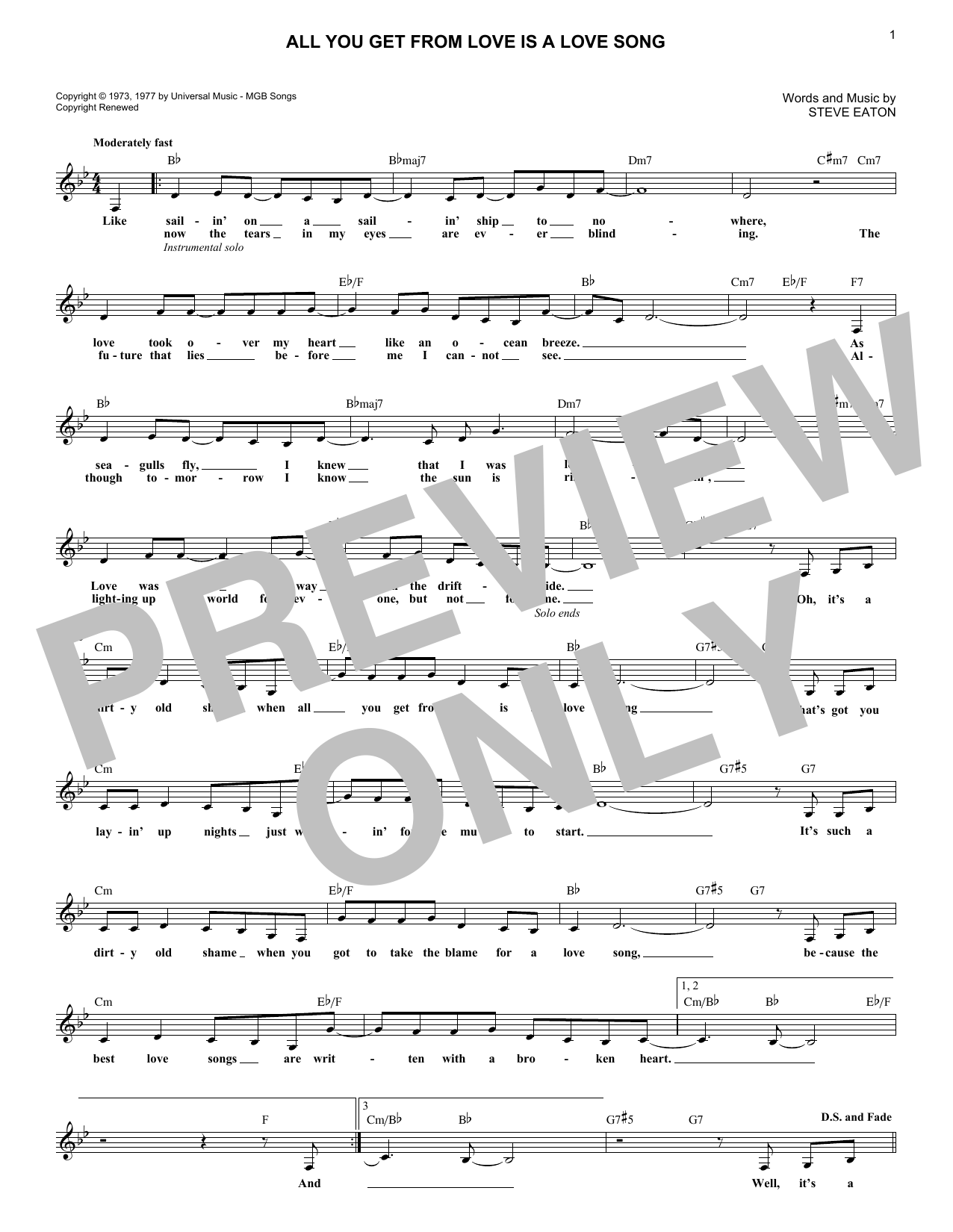 All You Get From Love Is A Love Song (Lead Sheet / Fake Book)