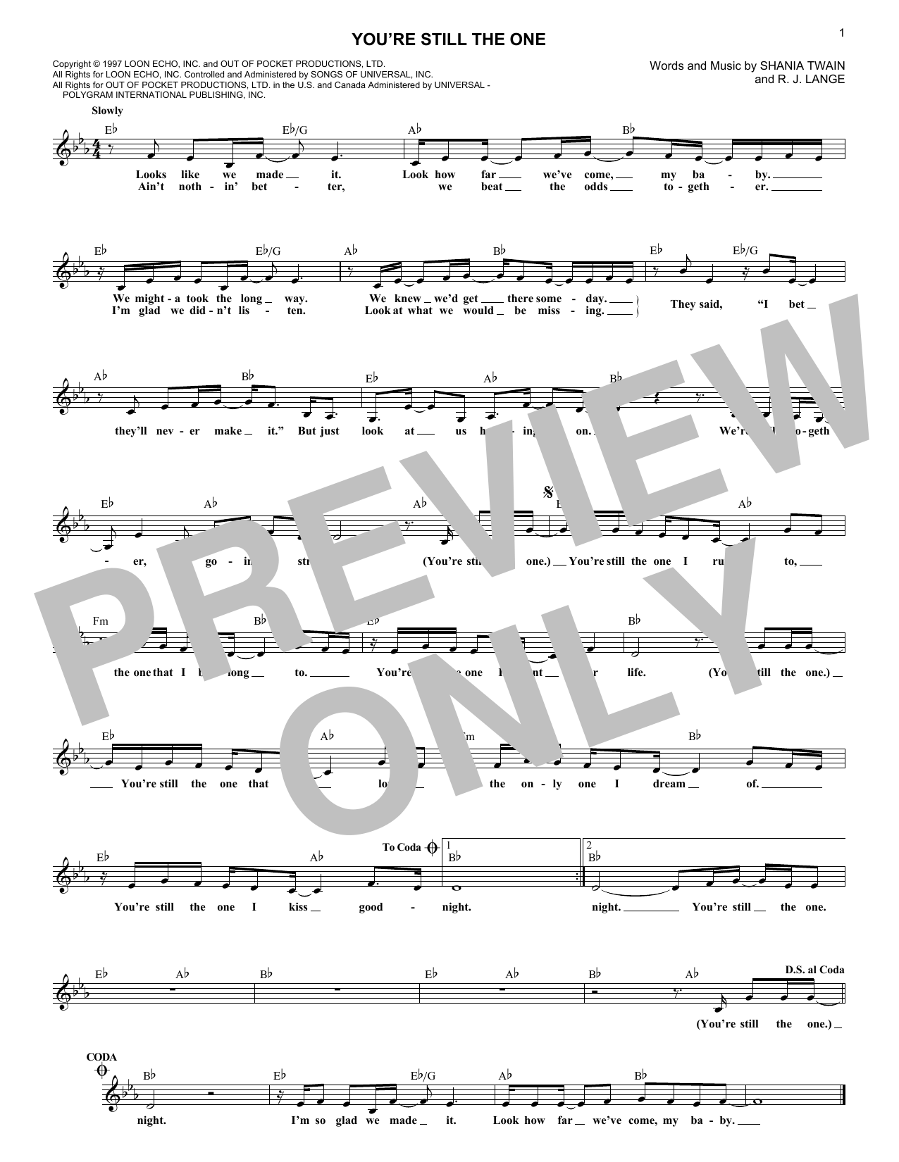 You're Still The One (Lead Sheet / Fake Book)