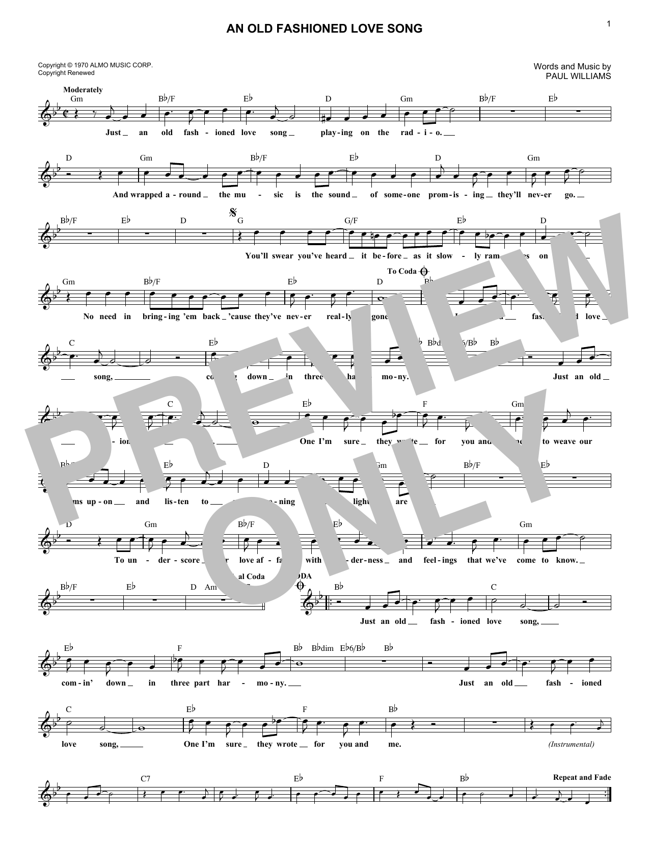 An Old Fashioned Love Song (Lead Sheet / Fake Book)