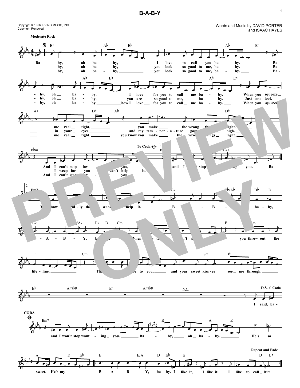 B-A-B-Y (Lead Sheet / Fake Book)