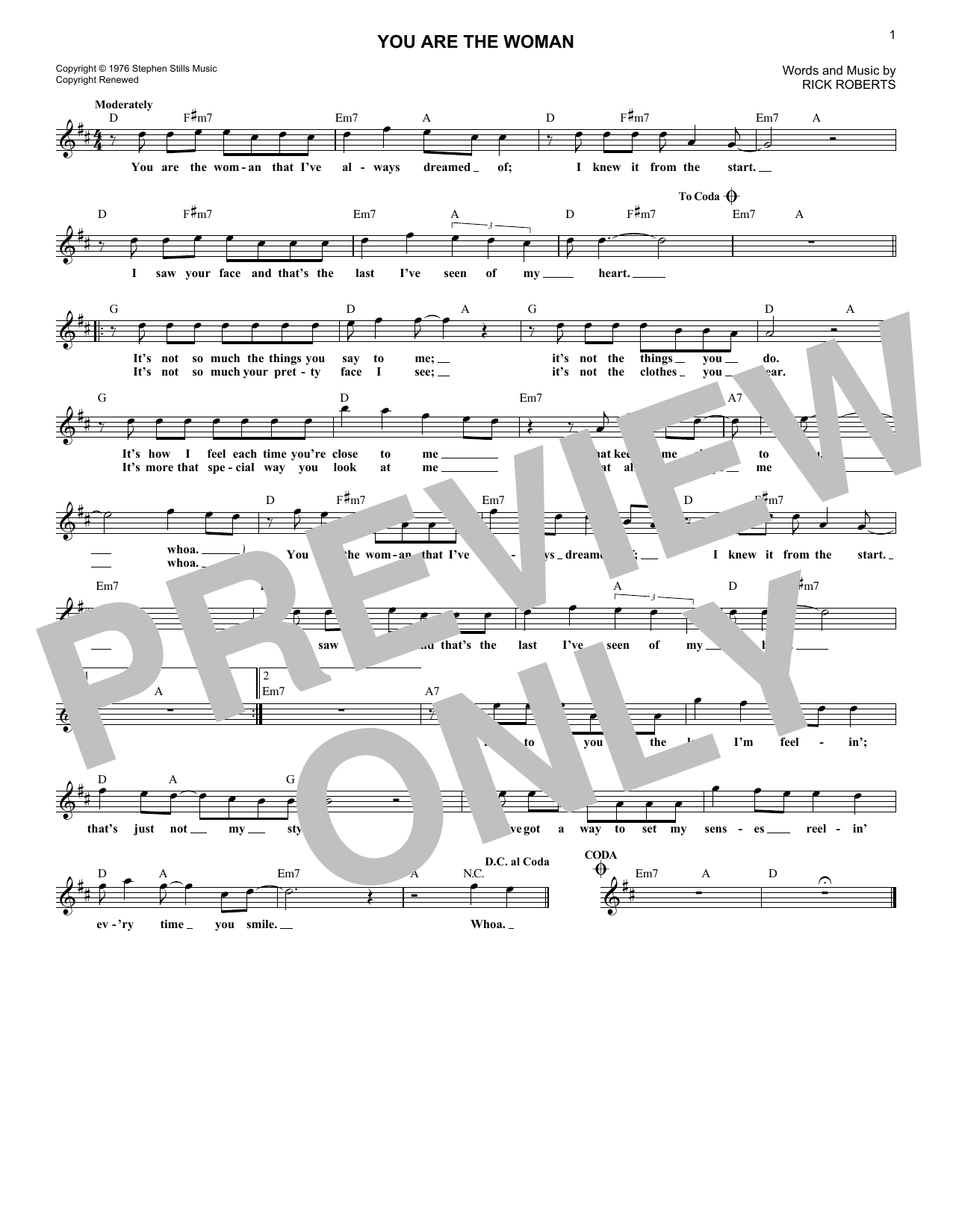 You Are The Woman (Lead Sheet / Fake Book)