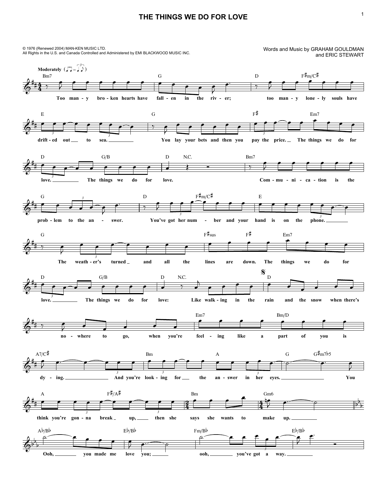 Things We Do For Love (Lead Sheet / Fake Book)