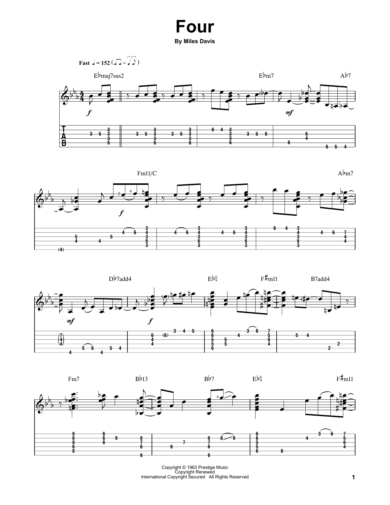 Tablature guitare Four de Jake Reichbart - Tablature Guitare