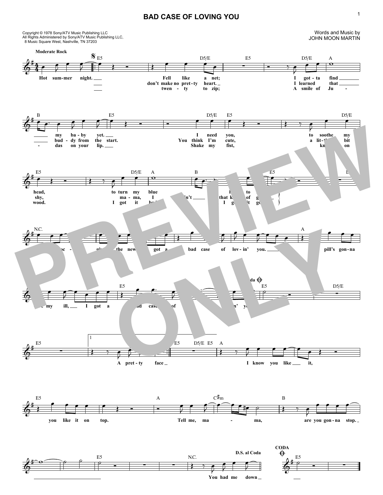 Bad Case Of Loving You (Lead Sheet / Fake Book)