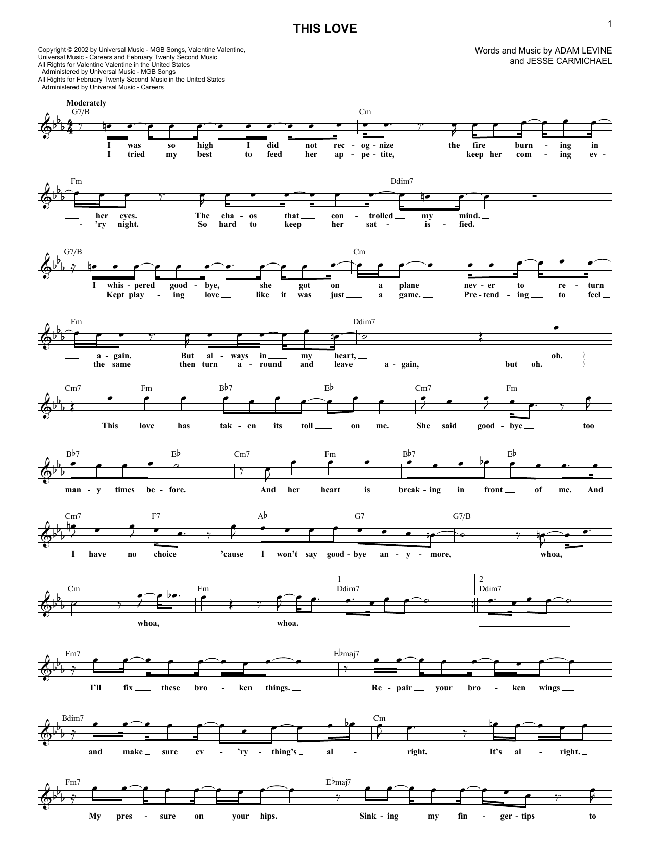This Love (Lead Sheet / Fake Book)