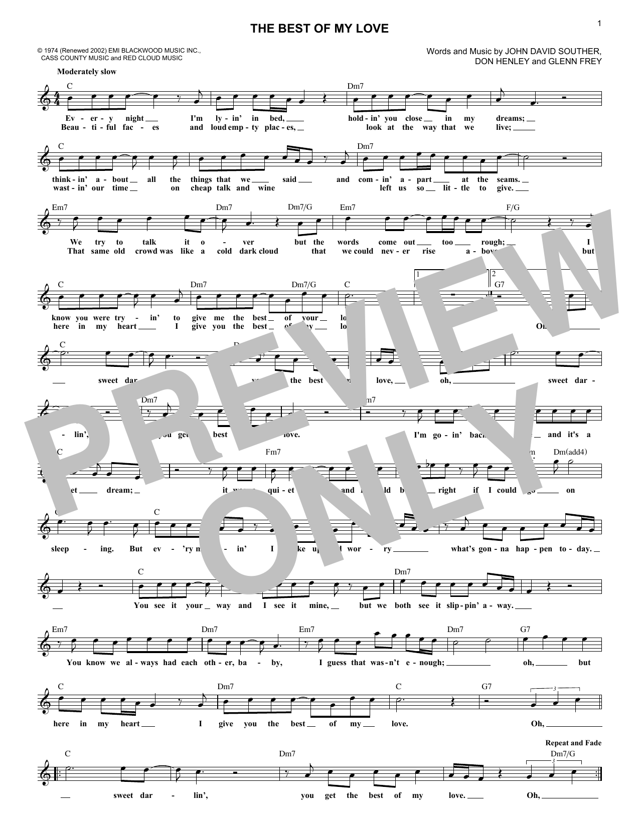 Best Of My Love (Lead Sheet / Fake Book)