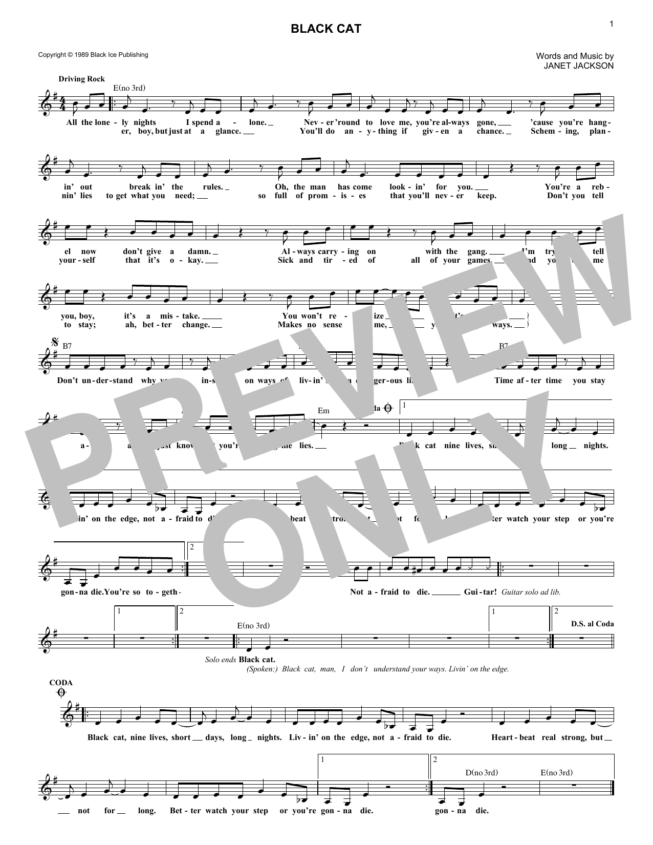 Black Cat (Lead Sheet / Fake Book)