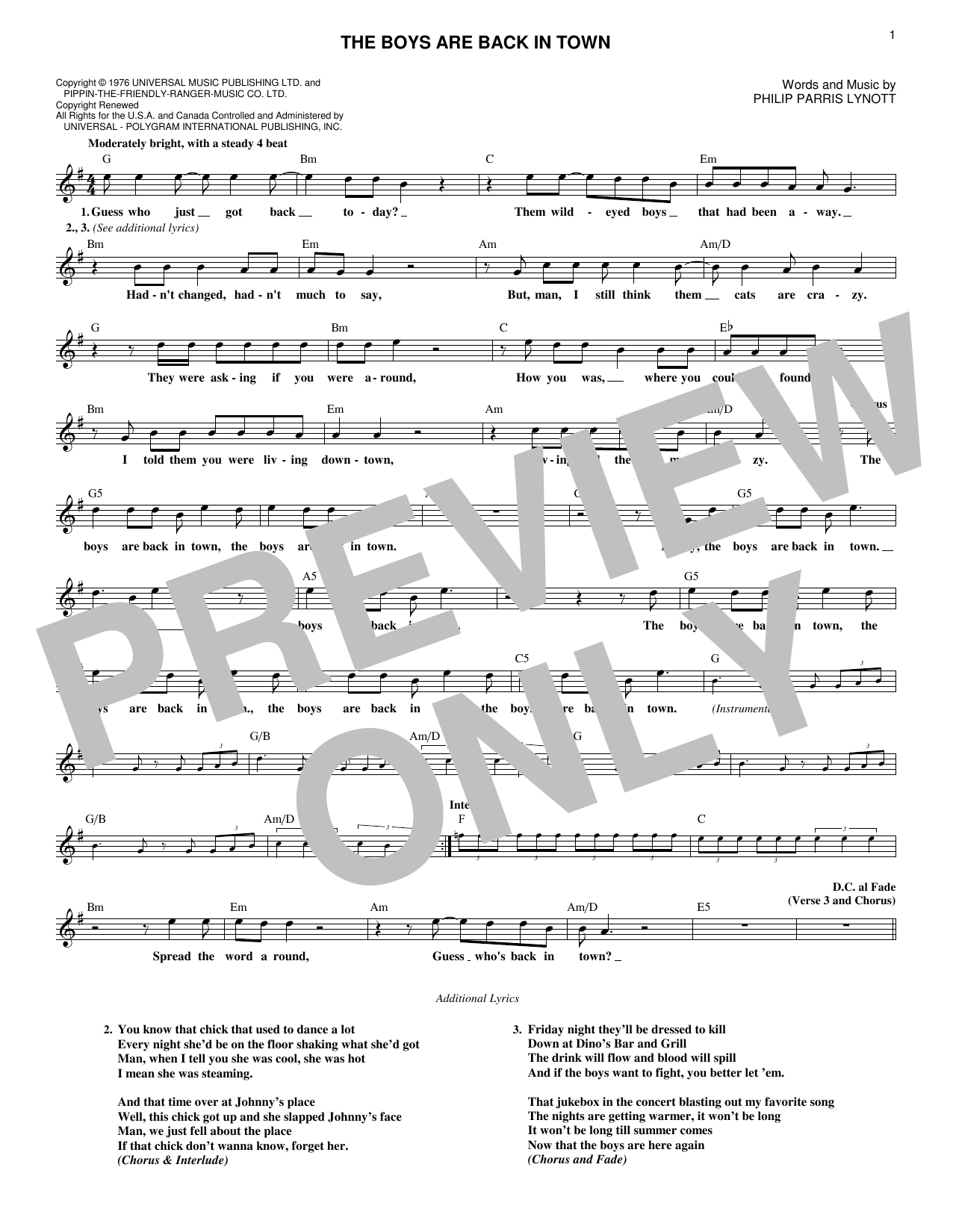 The Boys Are Back In Town (Lead Sheet / Fake Book)