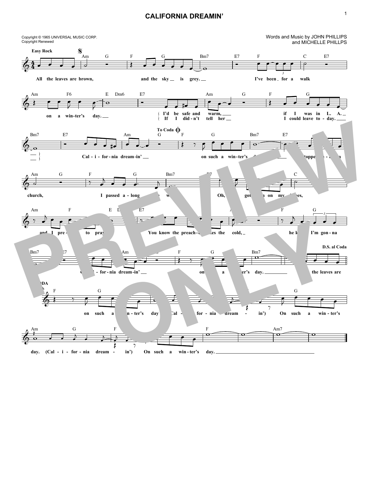 California Dreamin' (Lead Sheet / Fake Book)