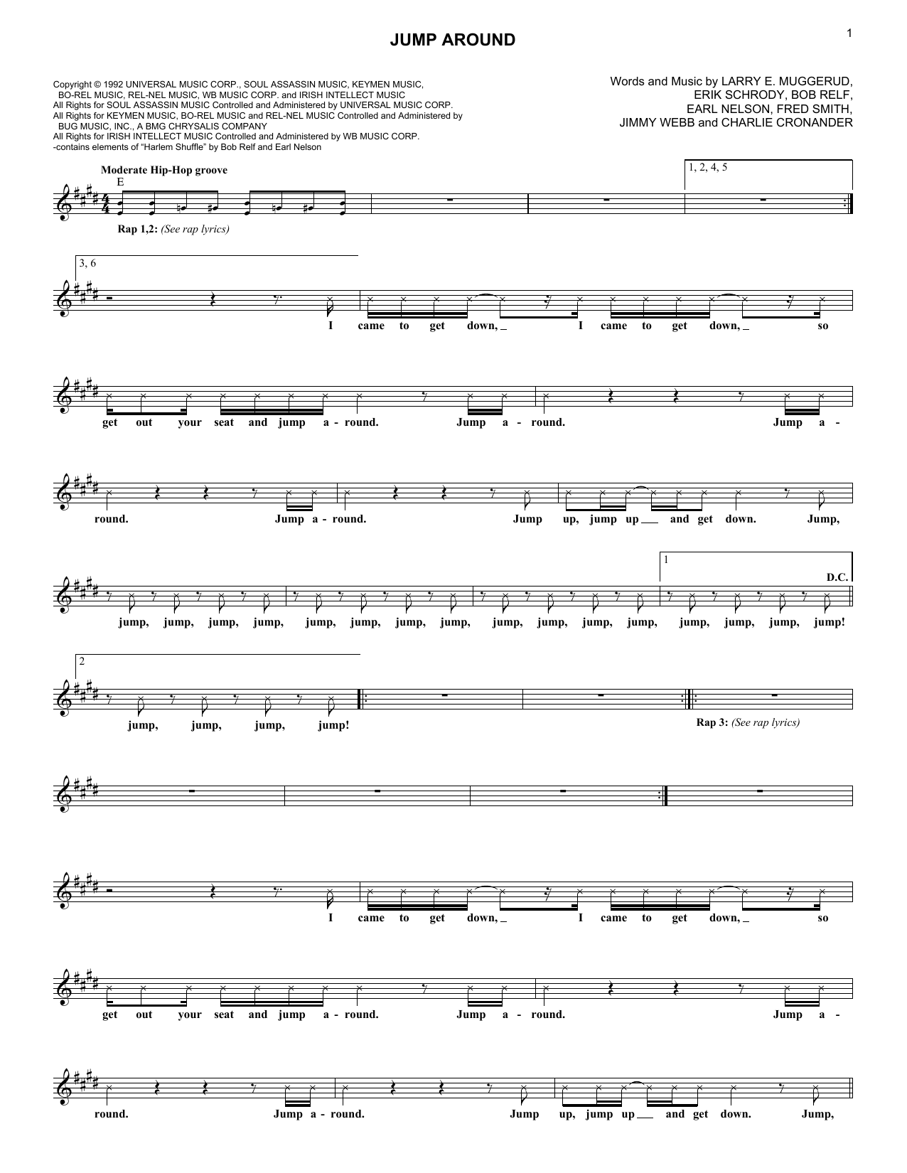 Jump Around (Lead Sheet / Fake Book)