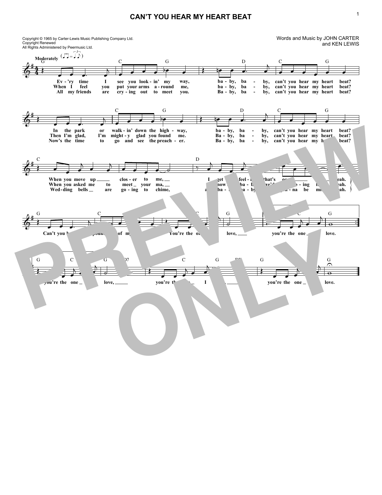 Can't You Hear My Heart Beat (Lead Sheet / Fake Book)