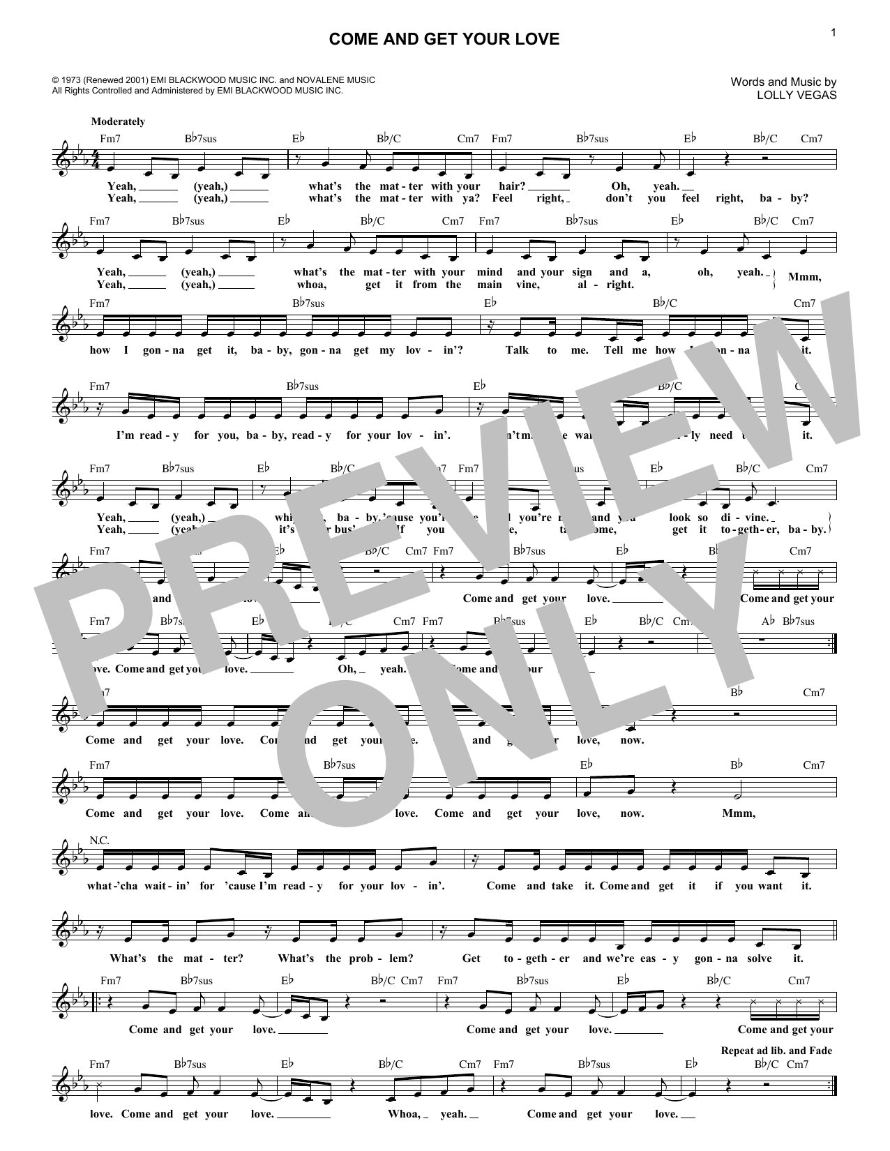 Come And Get Your Love (Lead Sheet / Fake Book)