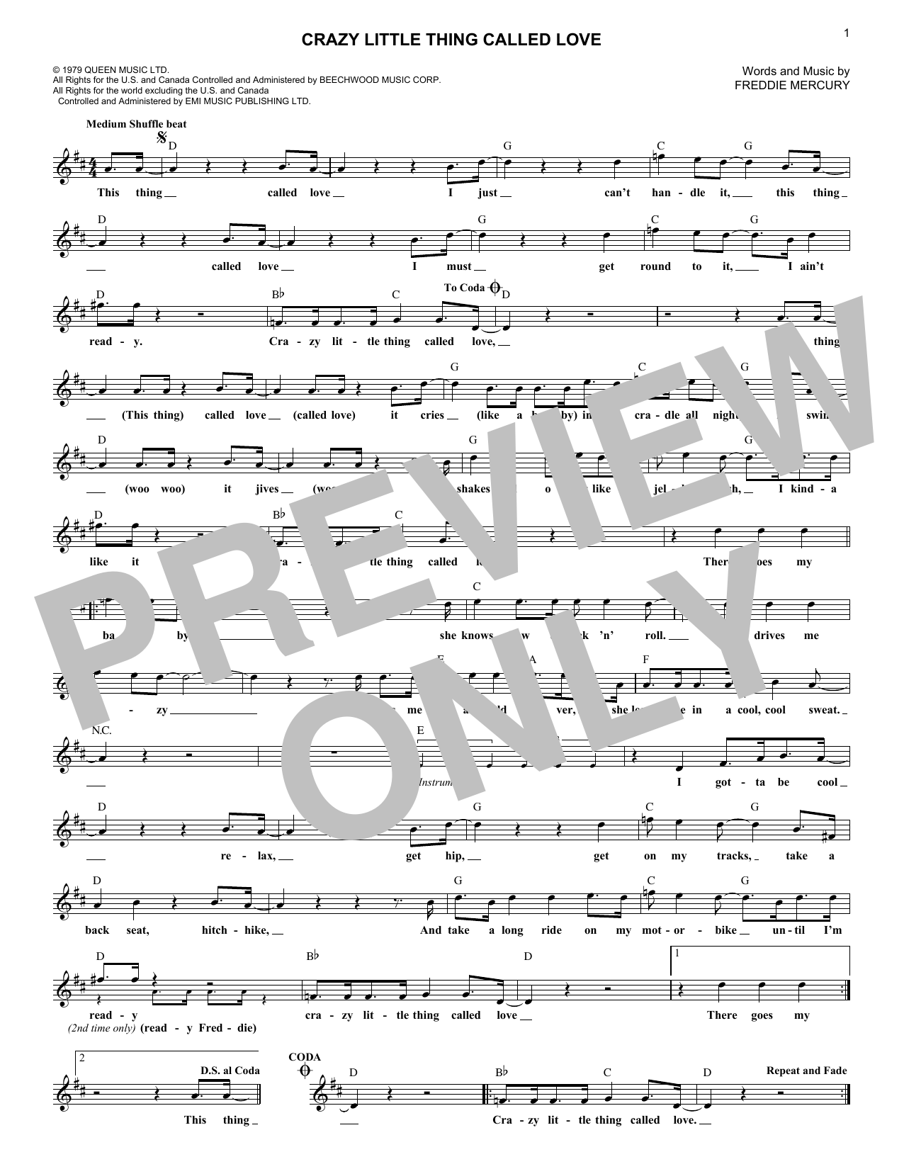 Crazy Little Thing Called Love (Lead Sheet / Fake Book)