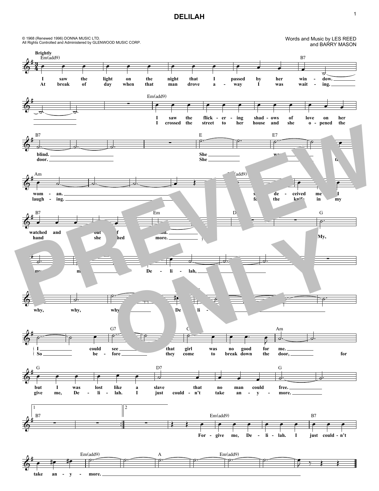 Delilah (Lead Sheet / Fake Book)