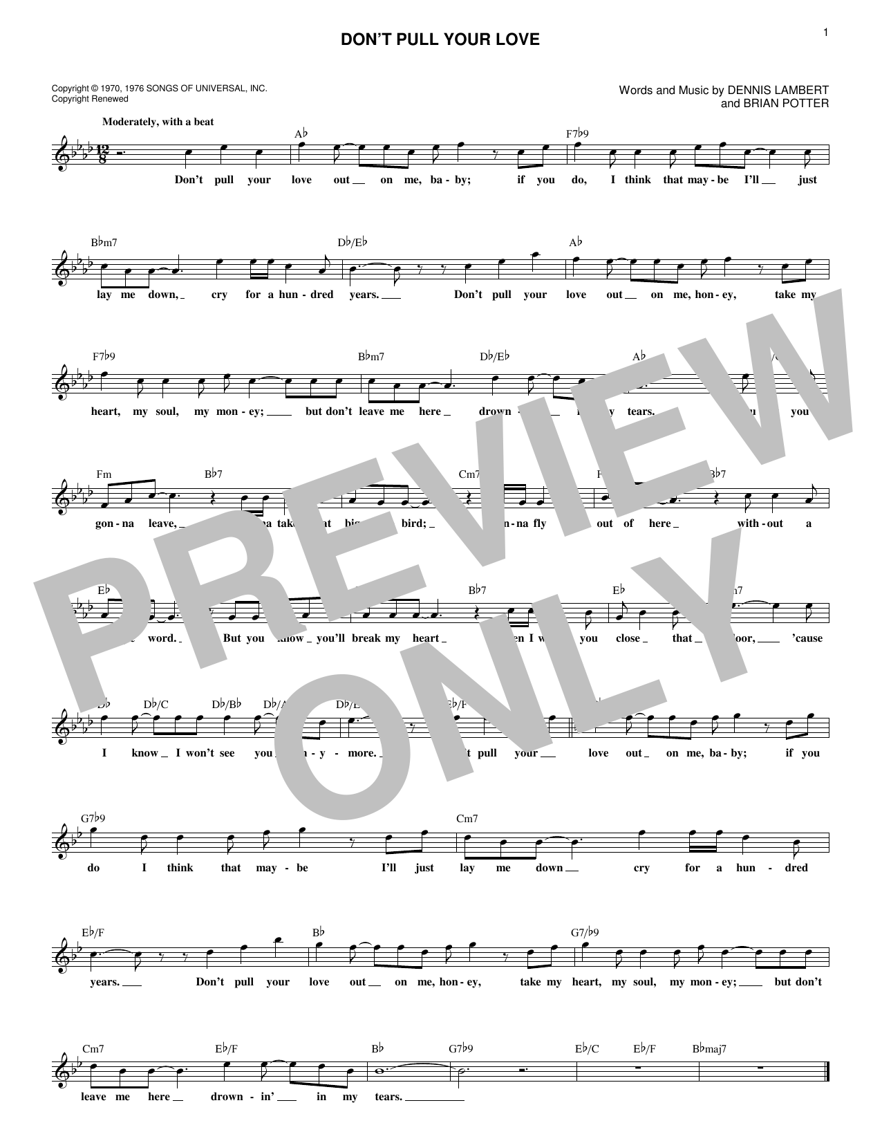 Don't Pull Your Love (Lead Sheet / Fake Book)