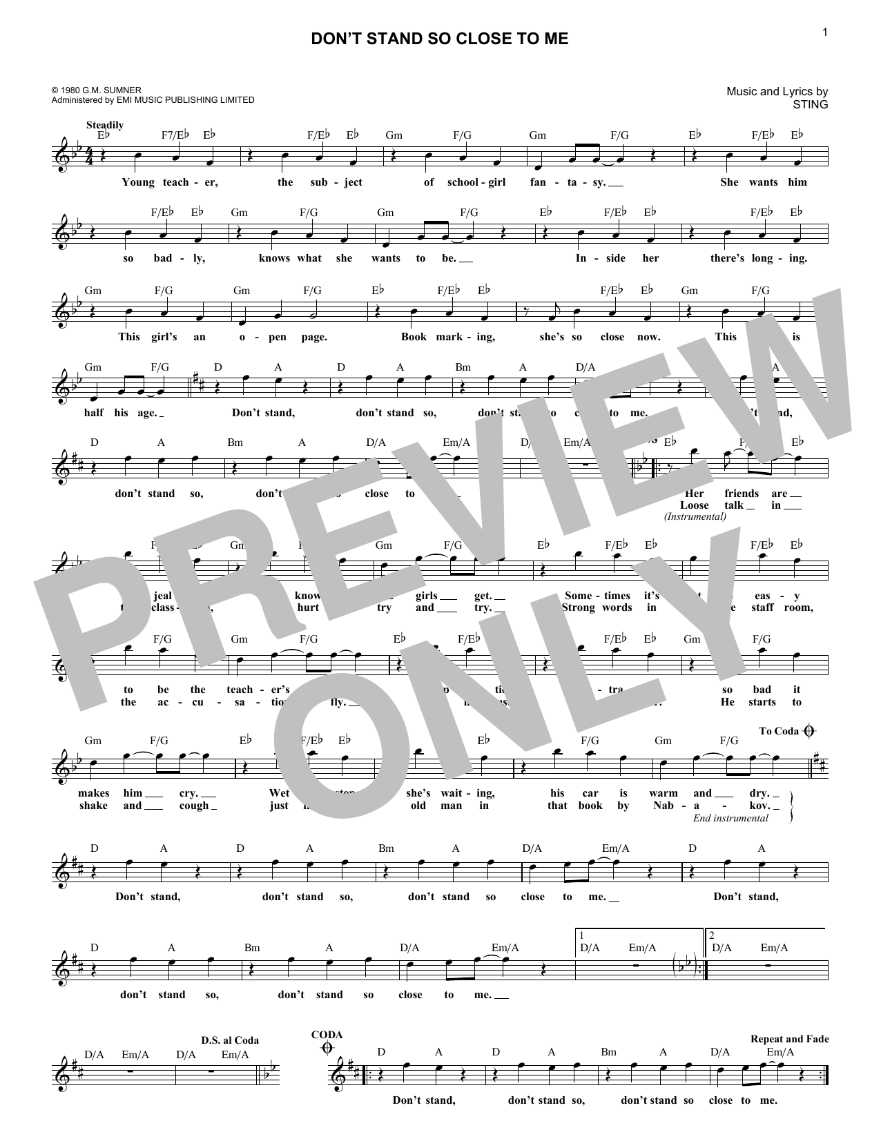 Don't Stand So Close To Me (Lead Sheet / Fake Book)