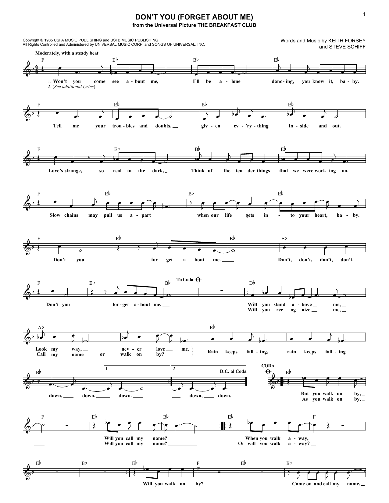 Don't You (Forget About Me) (Lead Sheet / Fake Book)