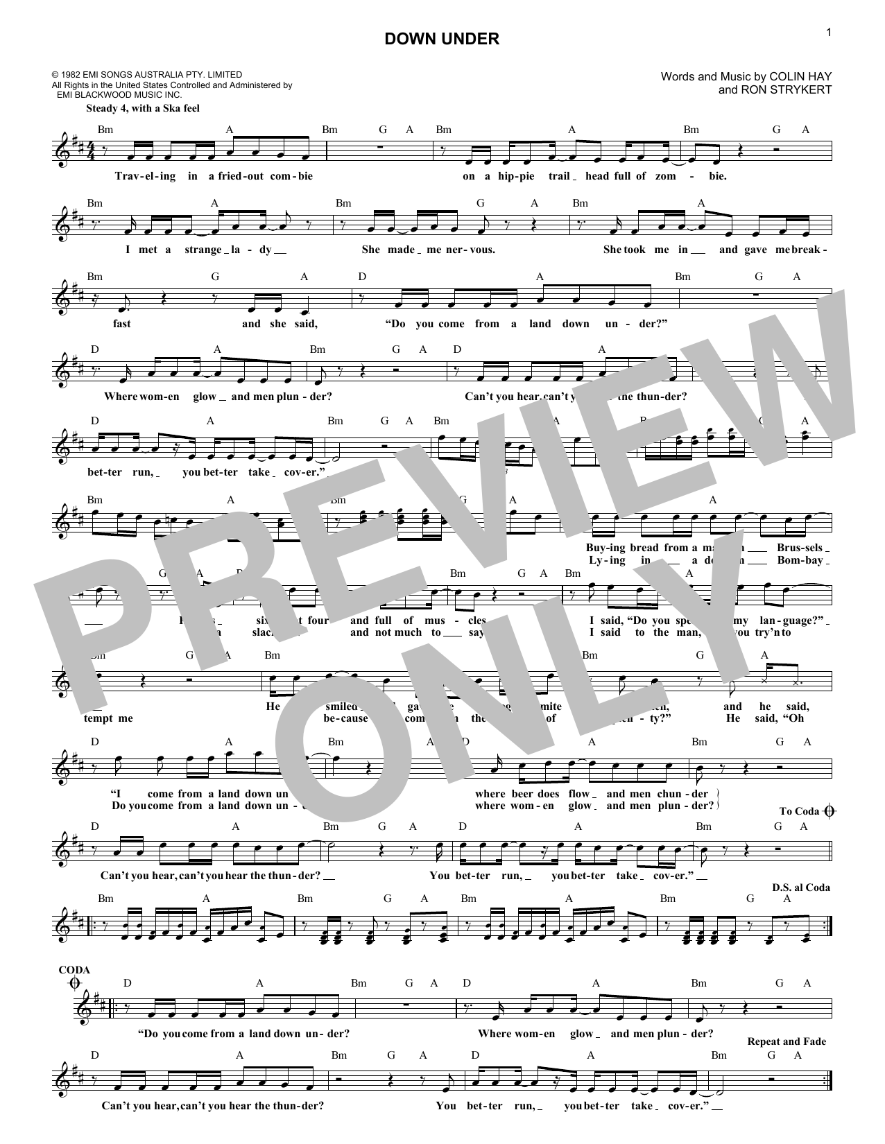 Down Under (Lead Sheet / Fake Book)
