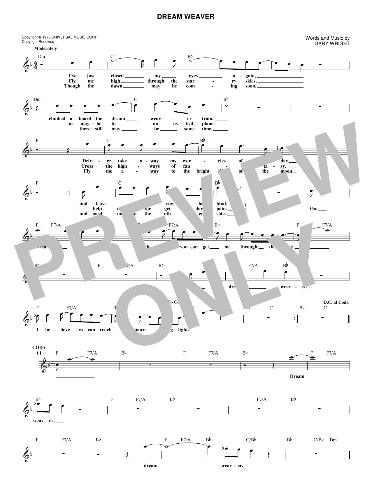 Dream Weaver (Lead Sheet / Fake Book)