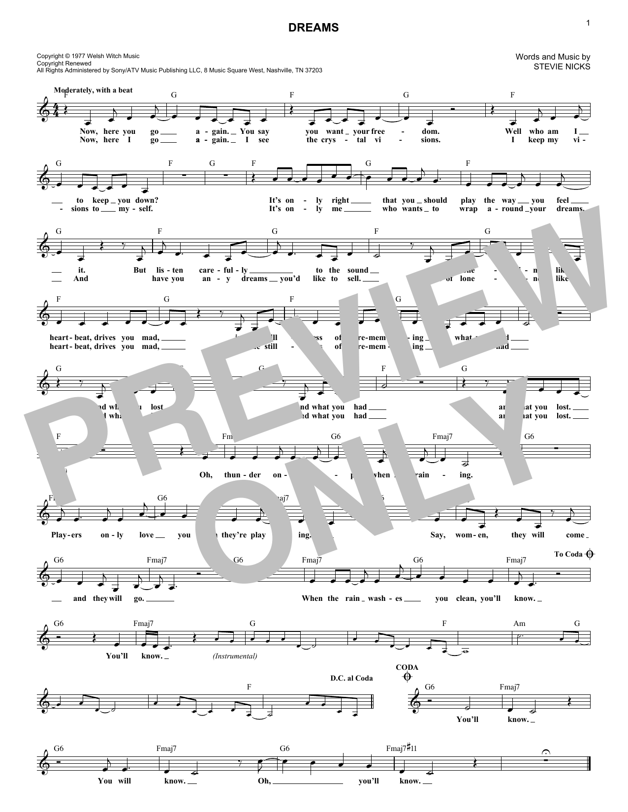 Dreams (Lead Sheet / Fake Book)