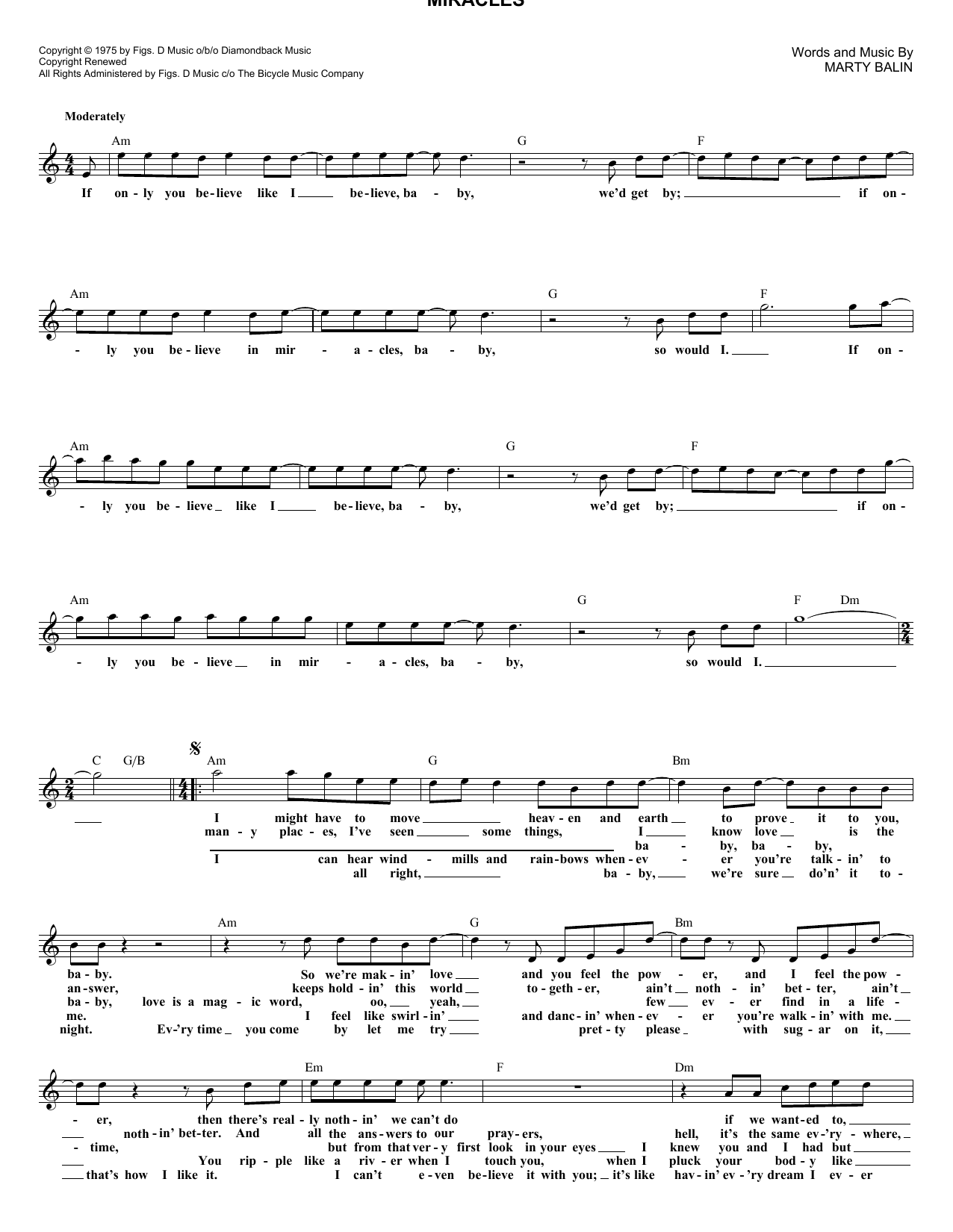 Miracles (Lead Sheet / Fake Book)