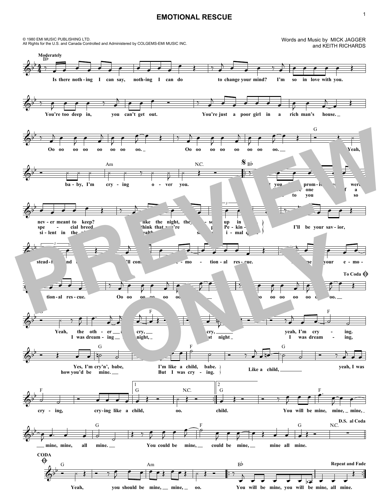Emotional Rescue (Lead Sheet / Fake Book)