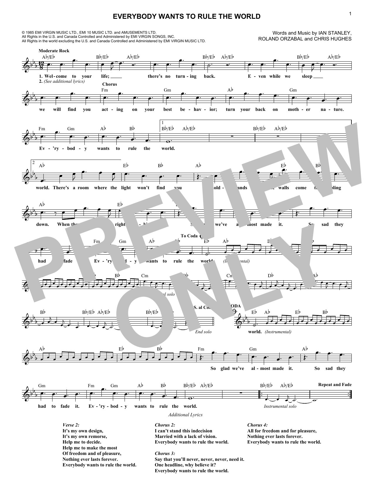 Everybody Wants To Rule The World (Lead Sheet / Fake Book)
