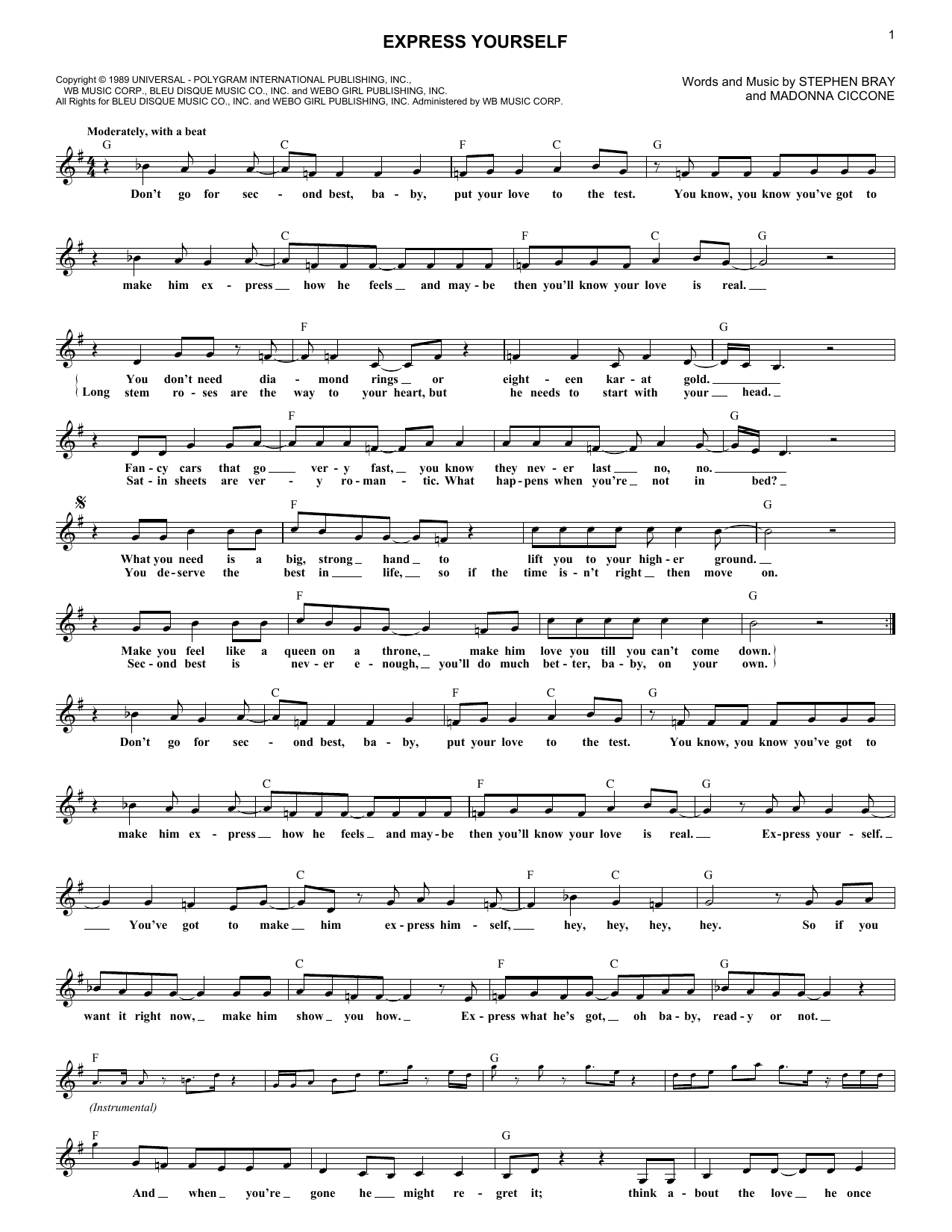Express Yourself (Lead Sheet / Fake Book)