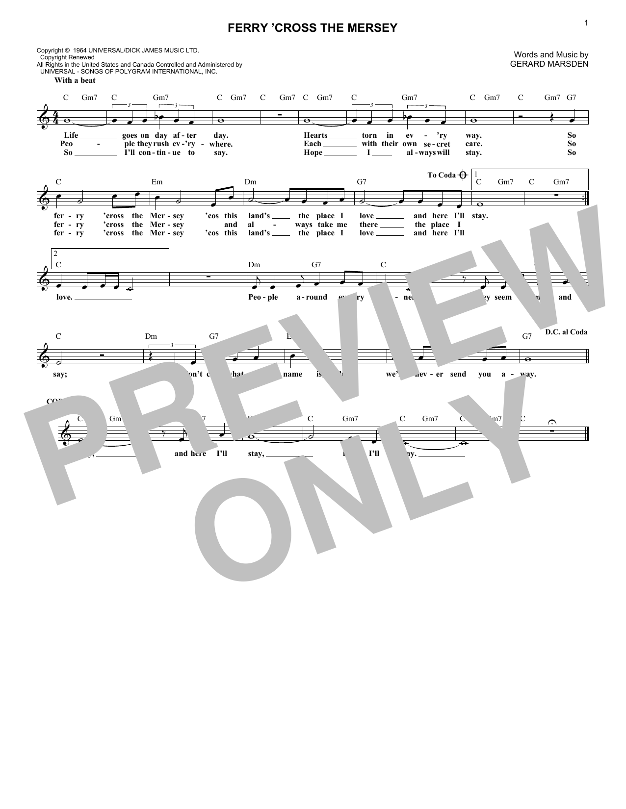 Ferry 'Cross The Mersey (Lead Sheet / Fake Book)