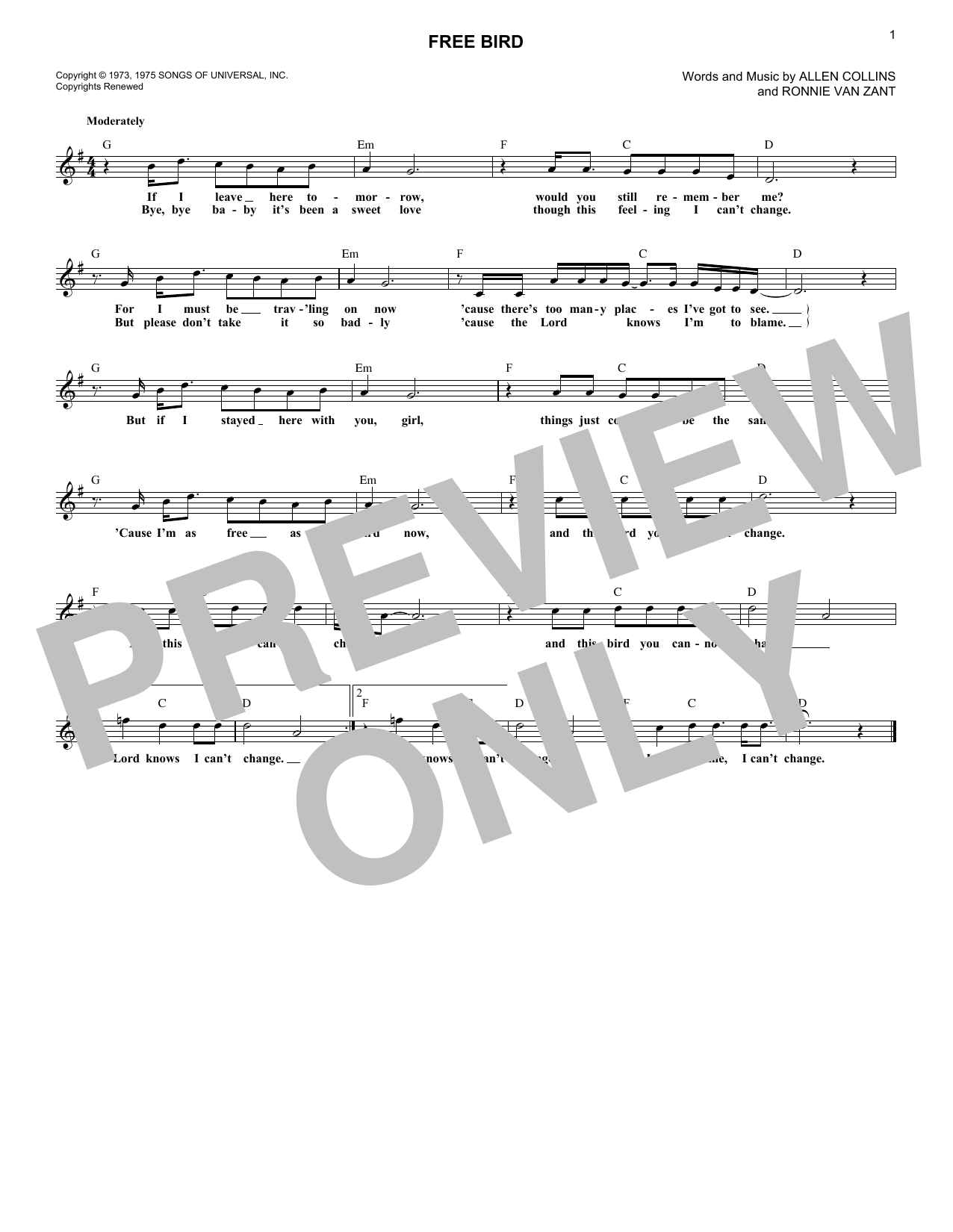 Free Bird (Lead Sheet / Fake Book)