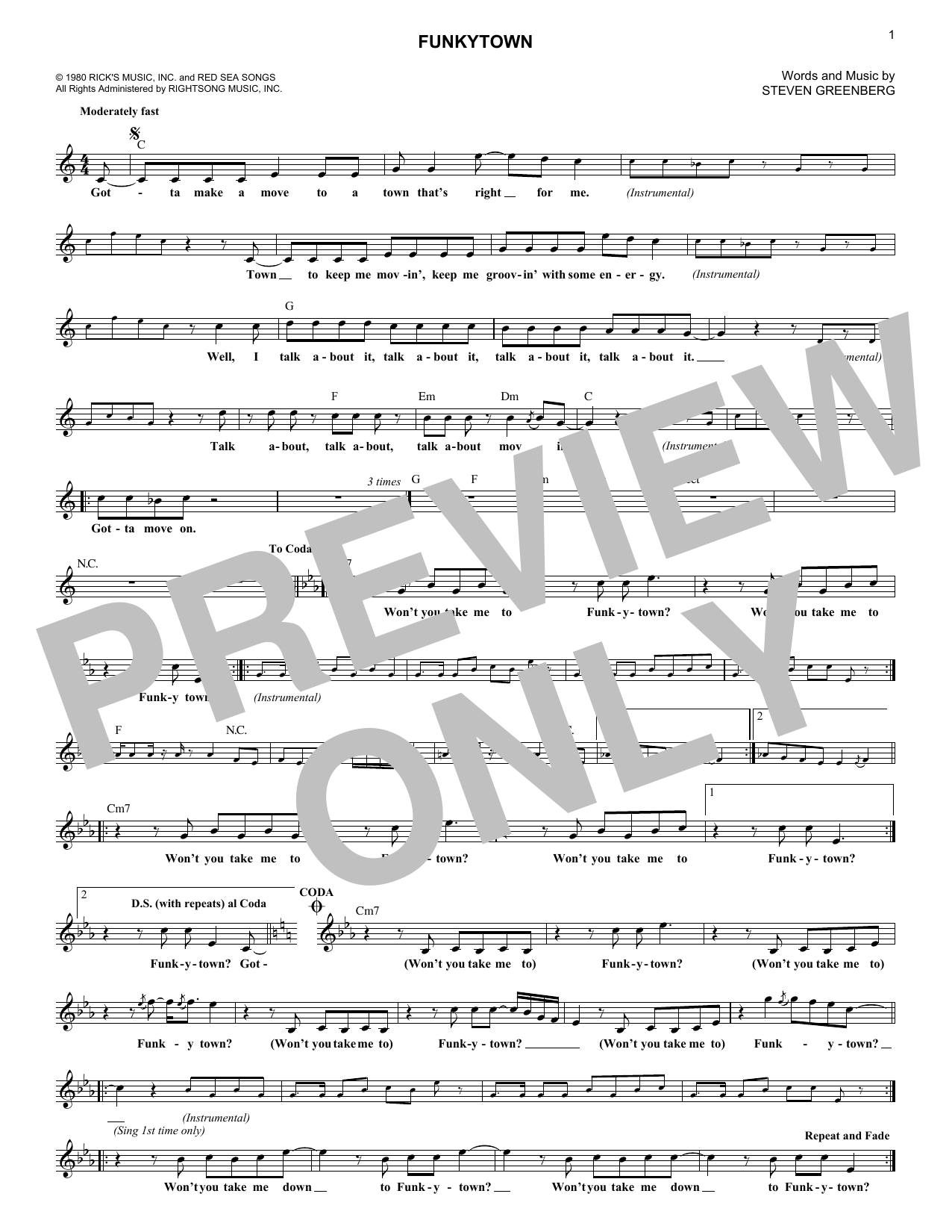 Funkytown (Lead Sheet / Fake Book)
