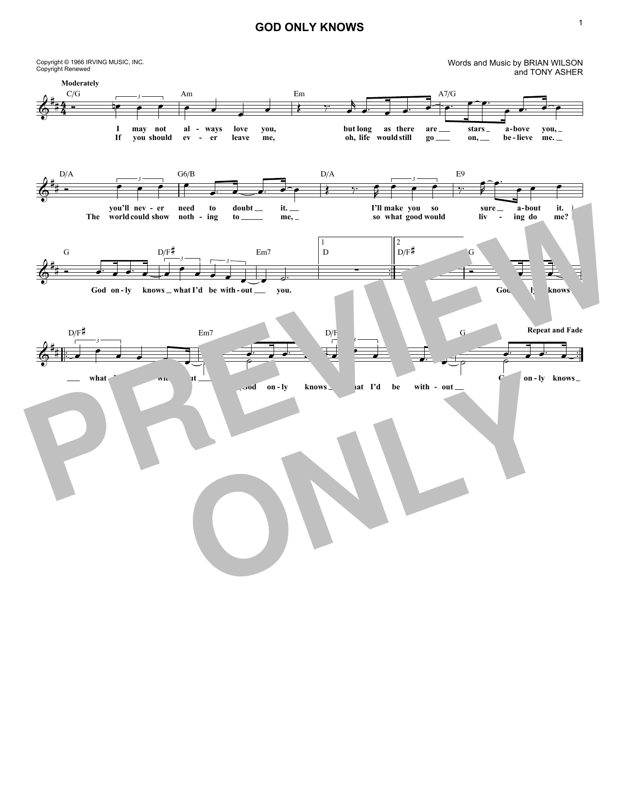 God Only Knows (Lead Sheet / Fake Book)