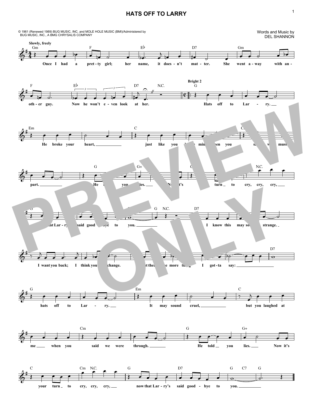 Hats Off To Larry (Lead Sheet / Fake Book)