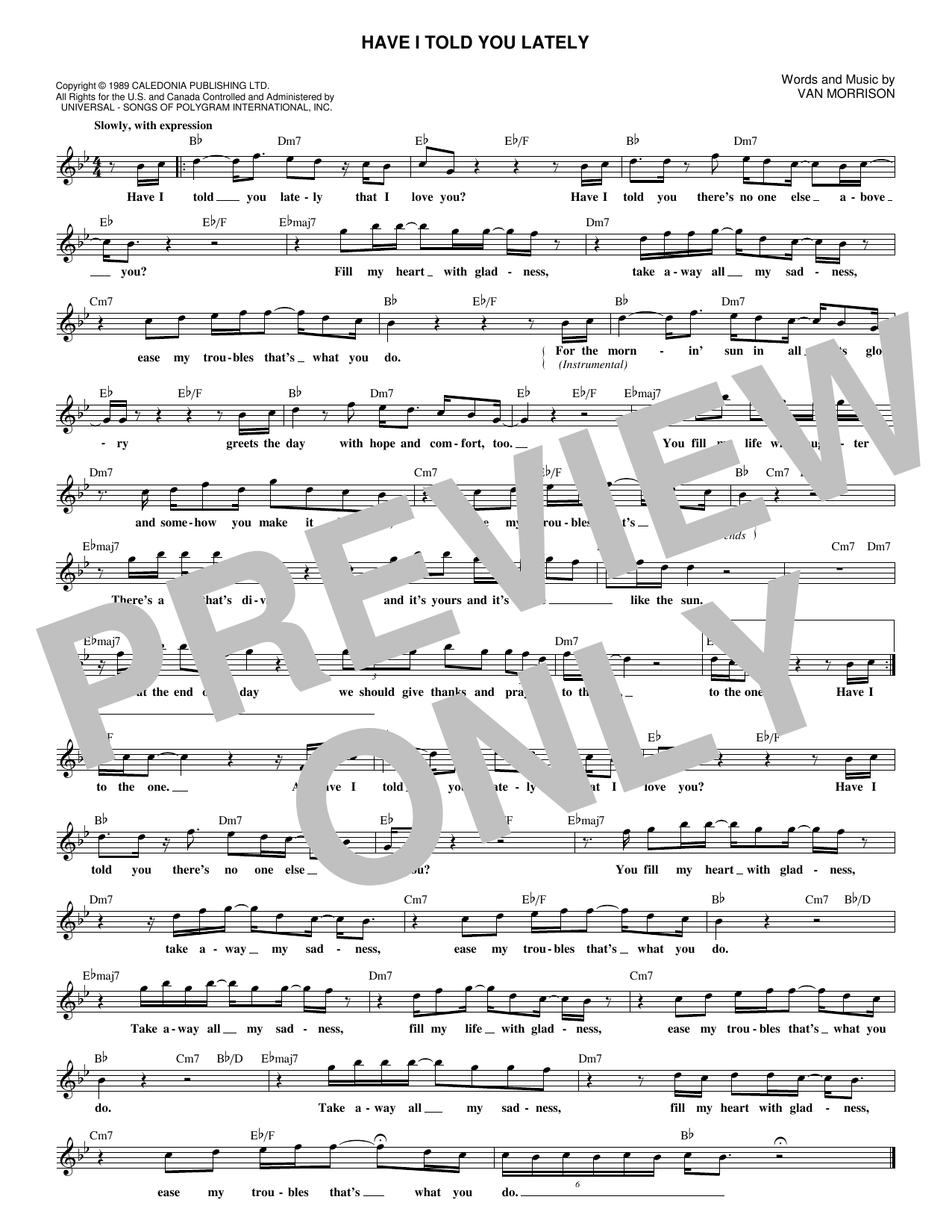 Have I Told You Lately (Lead Sheet / Fake Book)