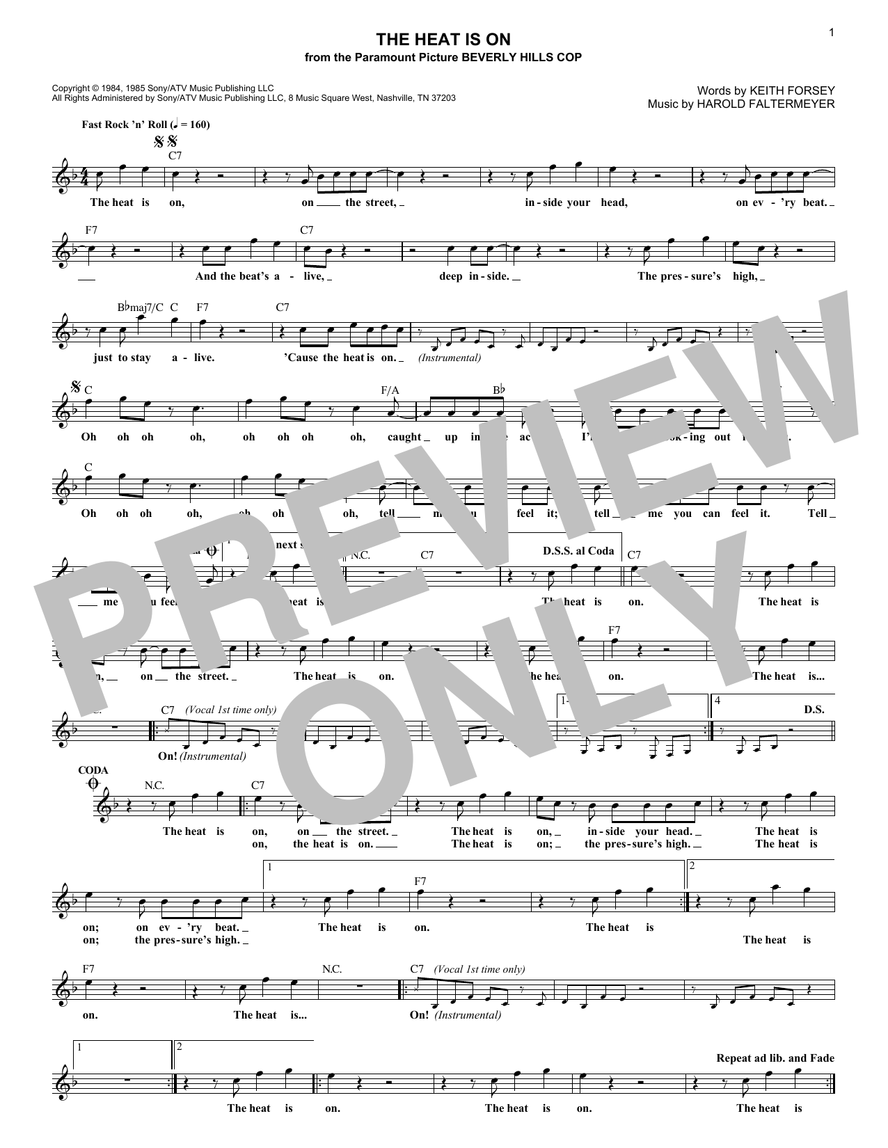 The Heat Is On (Lead Sheet / Fake Book)