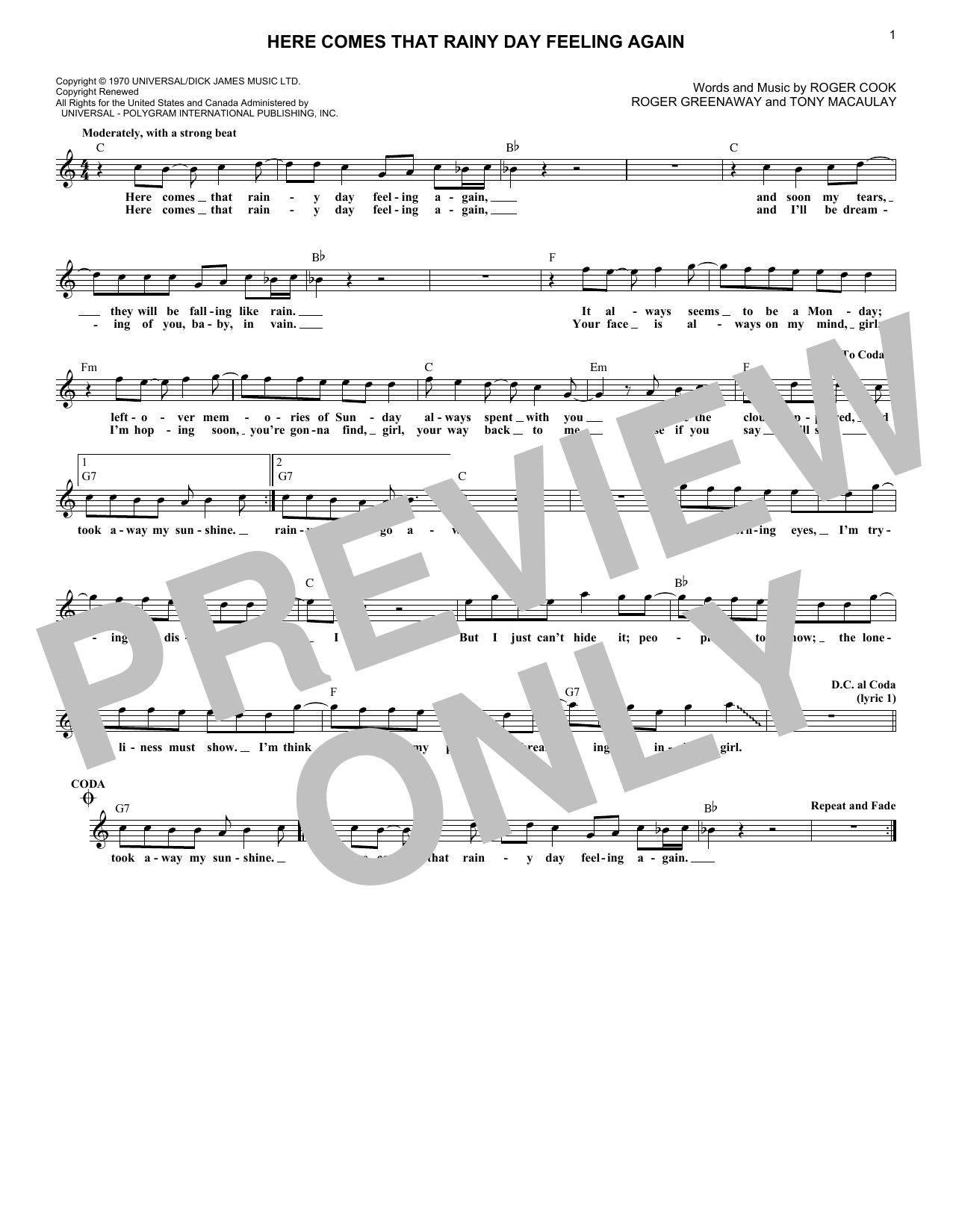 Here Comes That Rainy Day Feeling Again (Lead Sheet / Fake Book)